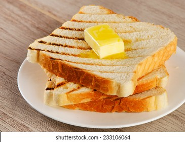 Slices of toast bread on   plate.  Selective focus