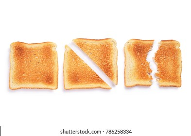 Slices of toast bread whole, cut and broken on white background. Top view
