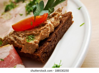 Slices of toasted bread with delicious liver pate