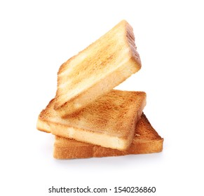 Slices of toasted bread isolated on white