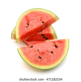 Slices of watermelon fruit isolated on white background