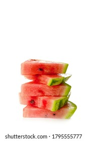 Slices of watermelon isolated on white background, top view.