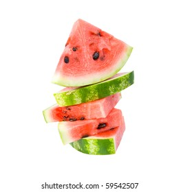 Slices of watermelon. Isolated on white background.
