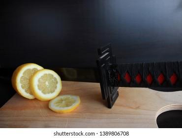 Slicing fruit with a Black Katana