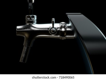 A slick modern black and chrome draught beer tap on an isolated dark moody studio background - 3D render