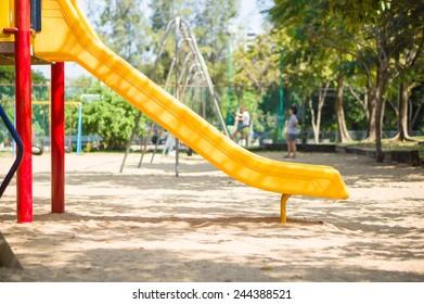 Slide from crawl construction on modern kids playground