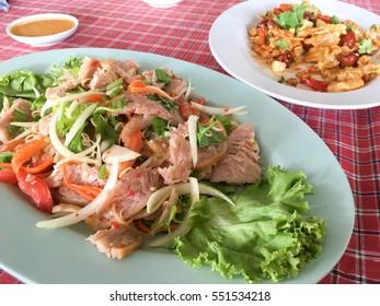 slide grilled pork salad , thailand food