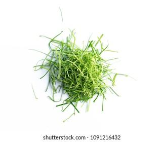slide kaffir lime leaves on white background