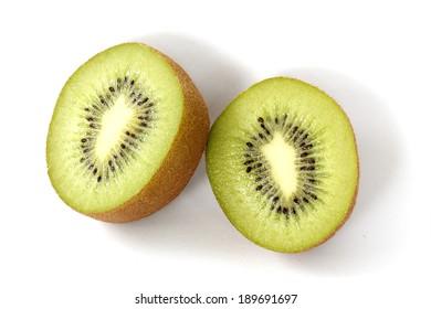 Slide of Kiwi fruit isolated on white background