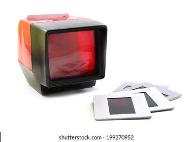 Slide projector and slide flim vintage on white background