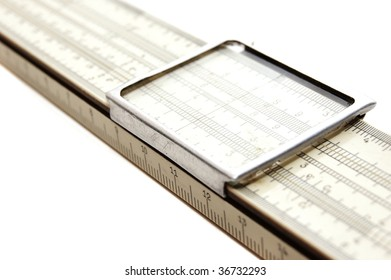 slide rule isolated on a white background
