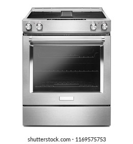 Slide-in Electric Range with Downdraft Isolated on White. Front View of Stainless Steel Range Cooker with 4 Cooking Elements. Kitchen Stove with Four Burner Cooktop. Domestic and Household Appliances