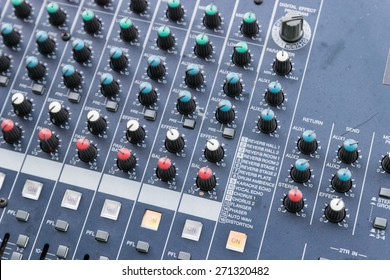 slider and knob of sound mixer console