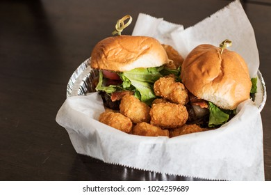 Sliders and tots  in to go Container