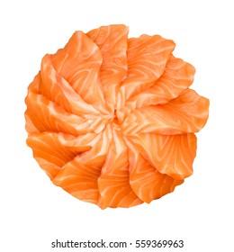 Slides Raw Salmon Sashimi  Isolated on White Background