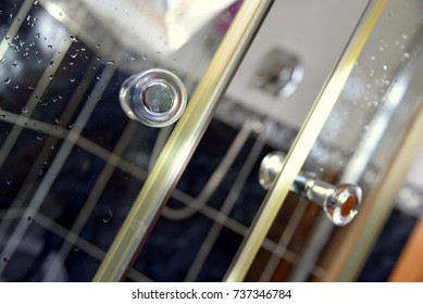 sliding door for shower cabin, bathroom