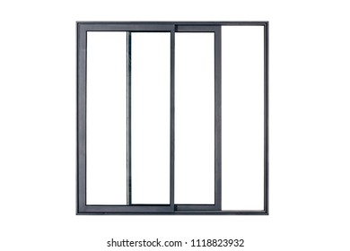 sliding french black window