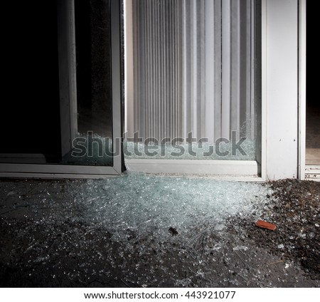 Sliding Glass Door Criminal Shattered Enter Stock Photo Edit Now