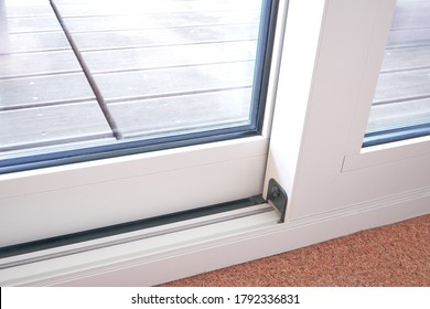 Sliding glass door detail and rail embed in floor