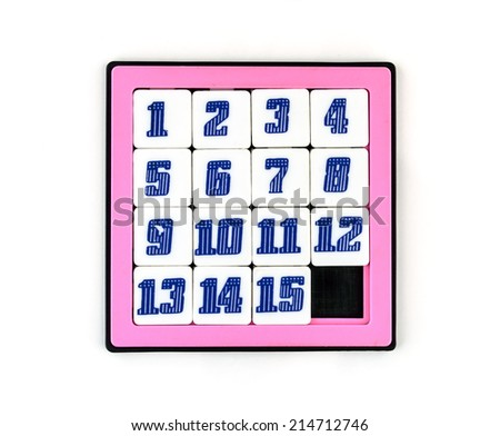 Sliding Puzzle Game 15 Numbers Stock Photo (Edit Now