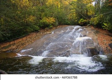 Sliding Rock in Western North Carolina Near Brevard in the Fall