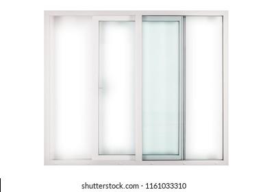 sliding white window door on white background