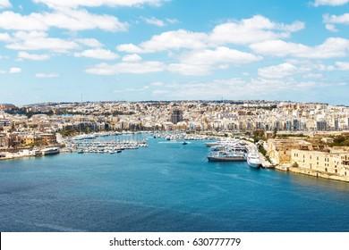Sliema azure harbour with yachts, Malta, EU