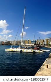 Sliema, Malta - 10th July 2018:Catamaran Tip Top One in the harbour of Sliema