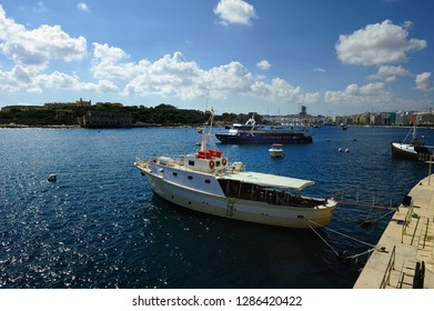 Sliema, Malta - 10th July 2018:Guadalupe and Jade in the harbour of Sliema