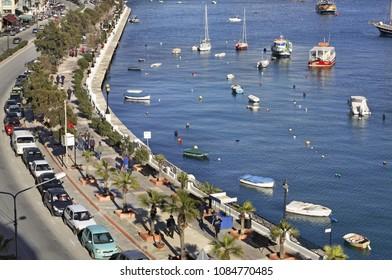 SLIEMA. MALTA. 24 FEBRUARY 2012 :  Embankment in Sliema (Tas-Sliema). Malta island