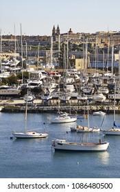 SLIEMA. MALTA. 24 FEBRUARY 2012 : Port in Sliema (Tas-Sliema). Malta island