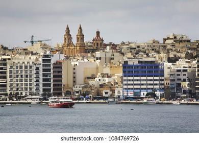 SLIEMA. MALTA. 25 FEBRUARY 2012 :  Embankment in Sliema (Tas-Sliema). Malta island