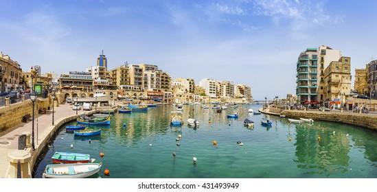 SLIEMA, MALTA - 28 MAY 2016: Panoramic view of the Saint Julians bay near Sliema City at Malta island.