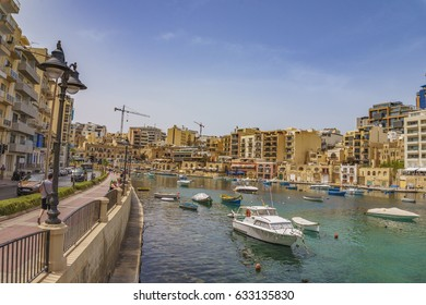 SLIEMA, MALTA - 28 MAY 2016: Panoramic view of the Saint Julians bay near Sliema City at Malta island.