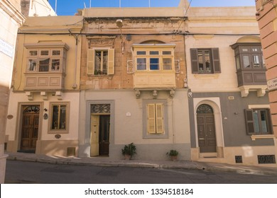 SLIEMA, MALTA - 30TH OCTOBER 2018: Architecture in Sliema Malta during the day, showing typical designs of the buildings