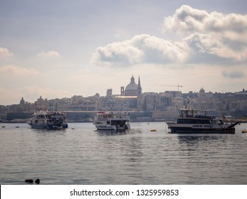 Sliema, Malta - February 21, 2019: View of the morning Valletta from ferry station