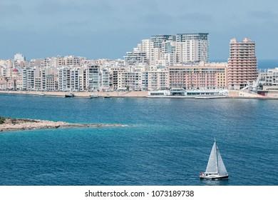 Sliema, Malta - March 14, 2018: Sliema cityscape with ocean in Malta