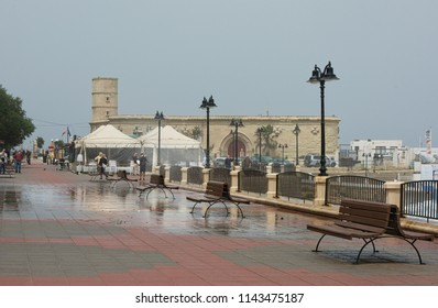 Sliema, Malta -march 2018: Waterfront buildings in Sliema  on stormy day, stormy sea with big waves in popular and touristic area in Malta-Sliema