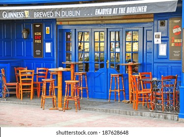 SLIEMA, MALTA - MARCH 4:Traditional irish pub exterior in Sliema city center on March 4, 2013. Sliema is a town located on the northeast coast of Malta.