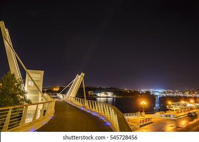 SLIEMA - MALTA, MAY 2016: The futuristic design of Tigne Pedestrian Bridge in Sliema, Malta