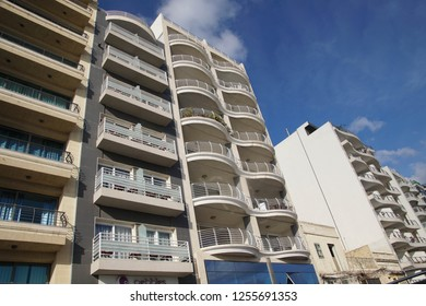 SLIEMA, MALTA - NOV 30, 2018 - Modern high rise apartments on waterfront of Sliema, Malta