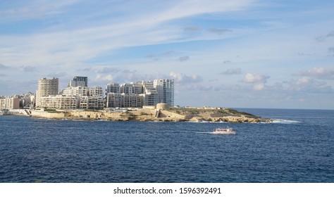 SLIEMA, MALTA - NOV 30, 2018 - Medieval waterfront fortifications of Valletta, Malta