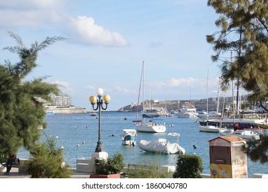 SLIEMA, MALTA - NOV 30, 2018 - Harbor and waterfront of Sliema, Malta