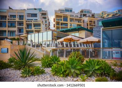 Sliema, Malta - October 2018: Luxury Hotel terrace and garden in Sliema, Malta
