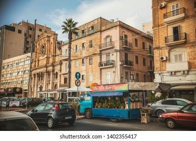 SLIEMA, MALTA - October 2018: The parish Church of Jesus of Nazareth, In-Nazzarenu, Sliema, Malta