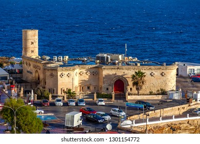 Sliema, Malta, on January 8, 2019. A view from highly point at the sea and Sliema Point Battery on the bank of the bay