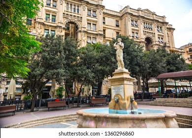 Sliema, Malta - September 2018: Monument of General Sir Borton in Roman style in Sliema, Malta