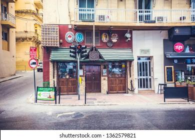 Sliema, Malta - September 2018: Pub Entrance in Sliema, Malta