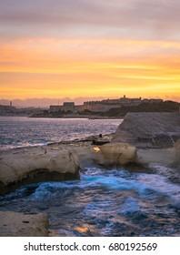 Sliema shoreline with Fort Manoel at beautiful sunset. Malta