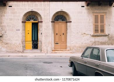 Sliema/Malta - May 1, 2018: A view on typical doors of Malta